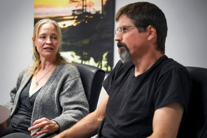 Shelley and Mark Baldwin speak with Citizen Times reporters in their attorney's office in Asheville March 21, 2019.