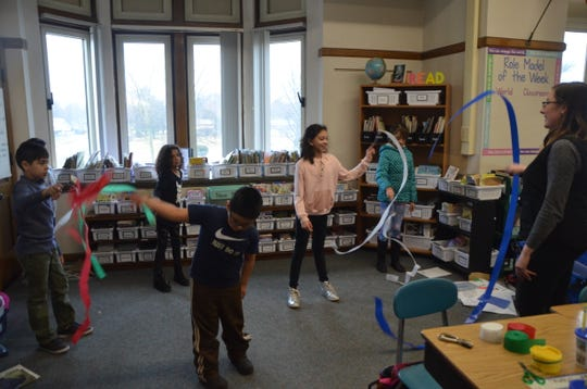On March 20, Rebecca Felton, a SPIN club coordinator with Calhoun County MSU Extension, taught a group of students at Prairieview Elementary some basic Chinese ribbon dancing moves.