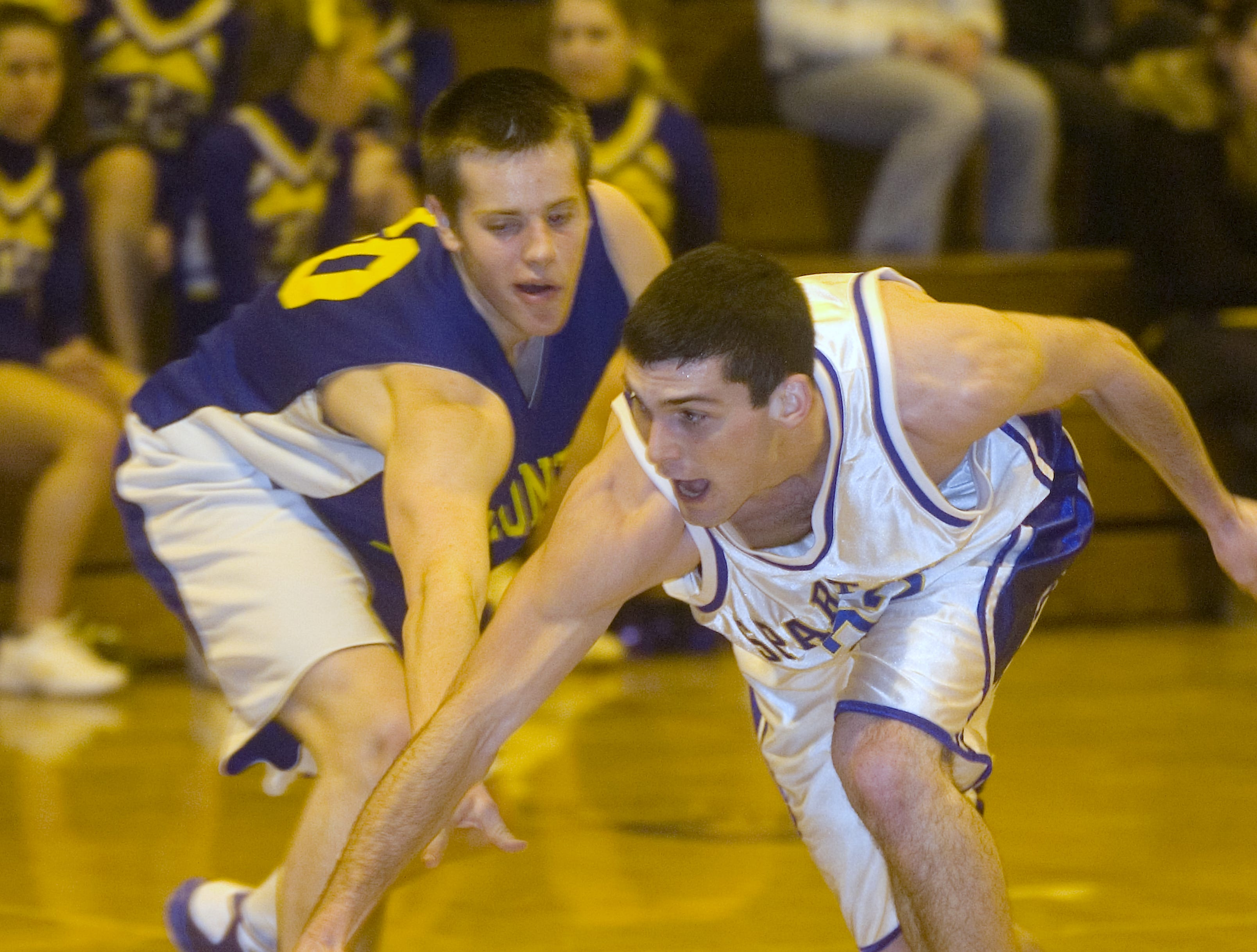 2009: Maine-Endwell's Joe Powell, right, and Oneonta's Ben Ehrets go for the loose ball in the second quarter of Wednesday's game at M-E.
