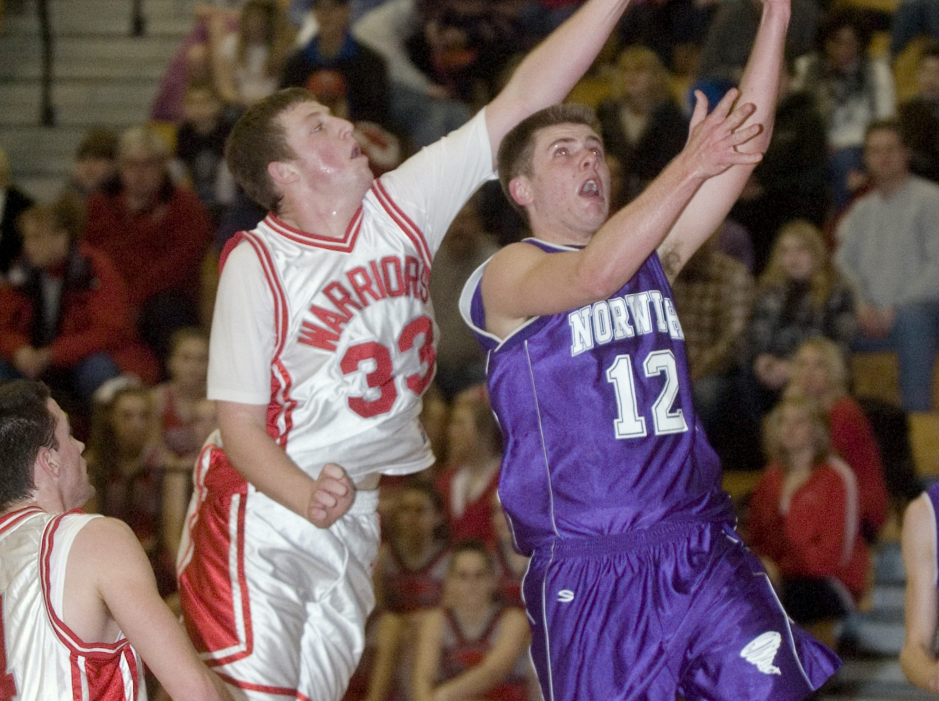 2010: Norwich's Joshua Borfitz, right, is blocked by Chenango Valley's Brian Wagstaff in the second quarter of Friday's game at CV.