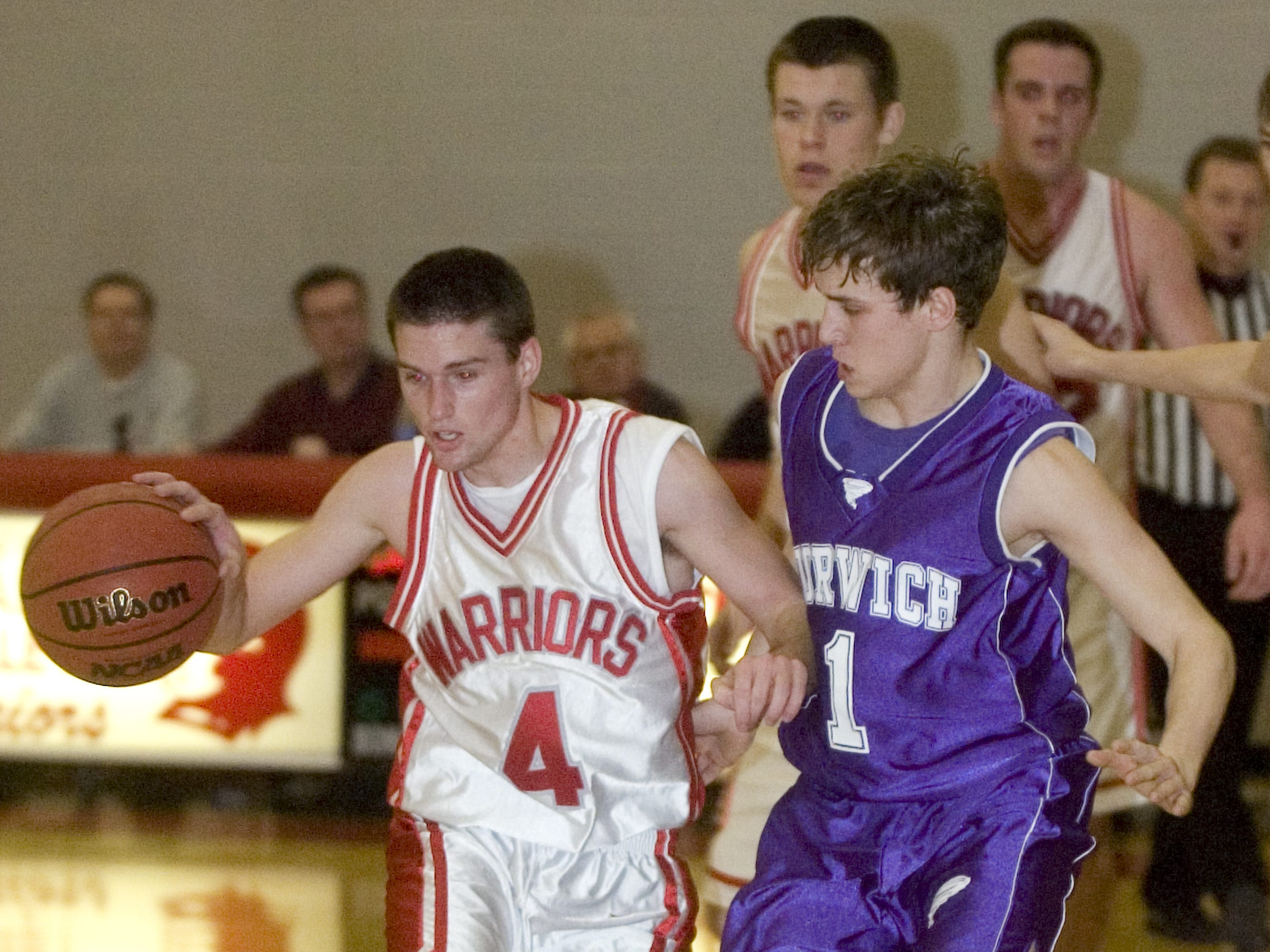 2010: Norwich's Casey Edwards, right, guards Chenango Valley's Andy Fox in the second quarter of Friday's game at CV.
