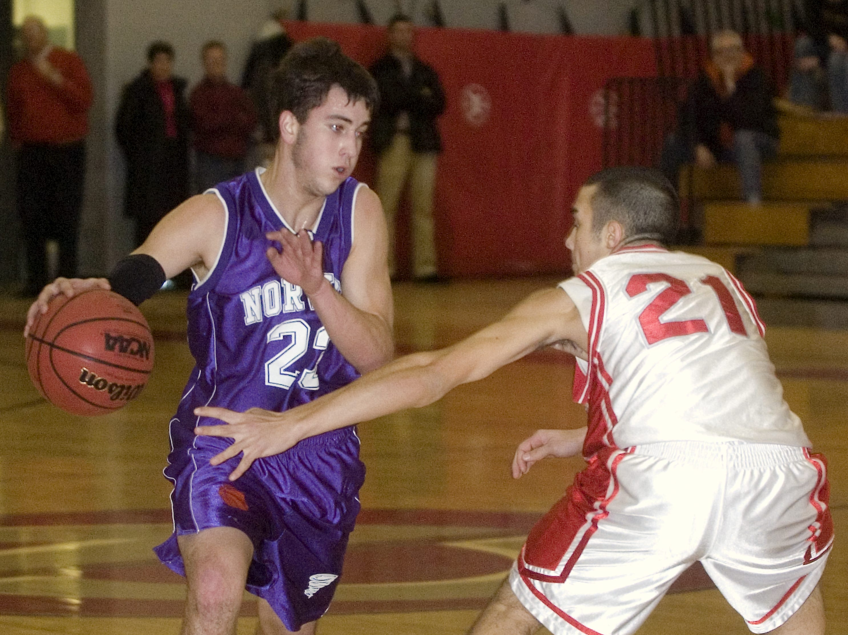 2010: Norwich's Derek Hughes, left, tries to get by Chenango Valley's Robert Heller in the second quarter of Friday's game at CV.