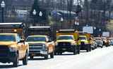 Procession of NY Department of Transportation, local municipality trucks traveled through Owego and Route 17 in Tioga County to honor Dennis Matthew Howe.