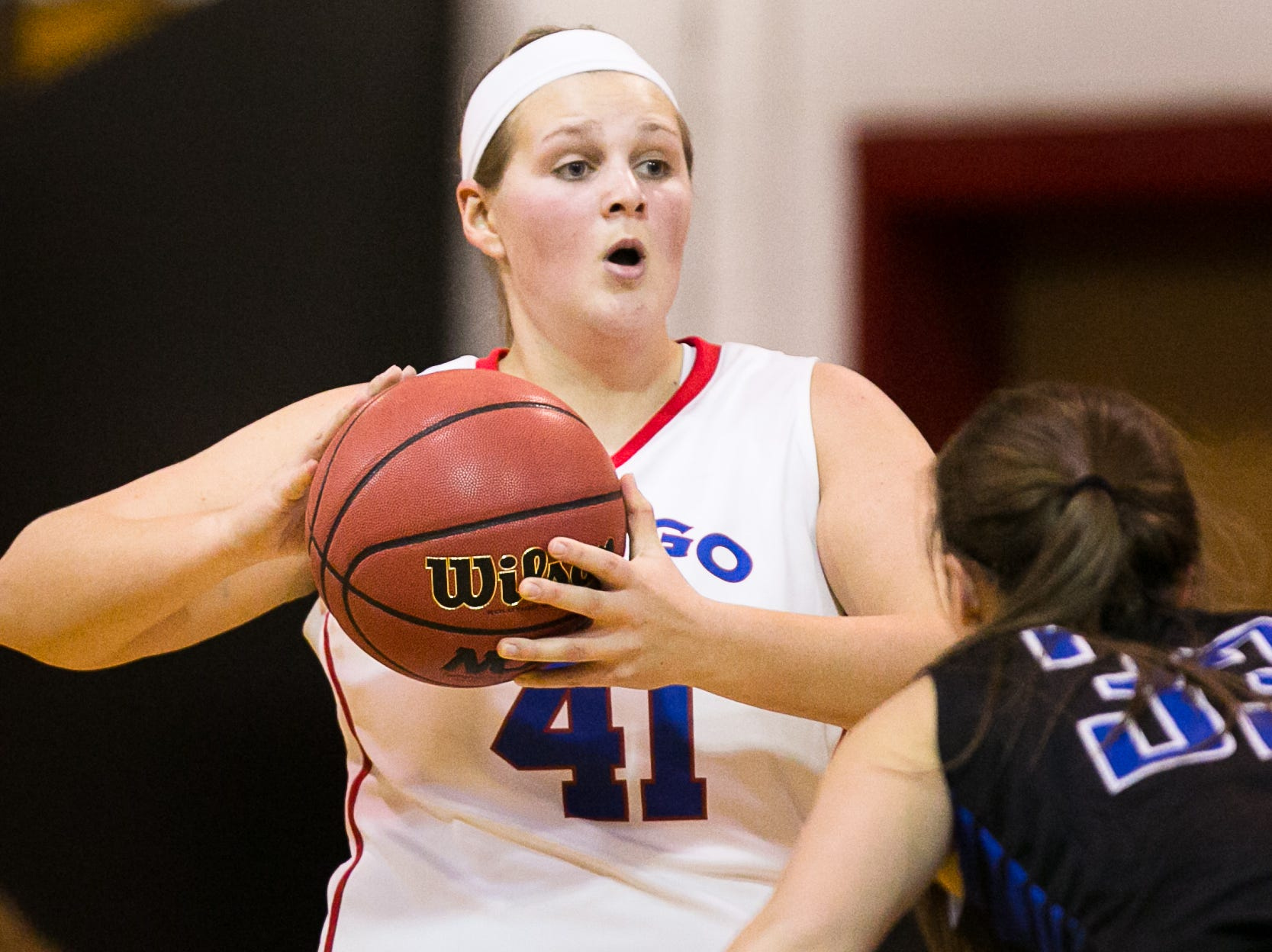 2013: Owego's Jill Silvanic looks to pass past a Horseheads defender Wednesday.