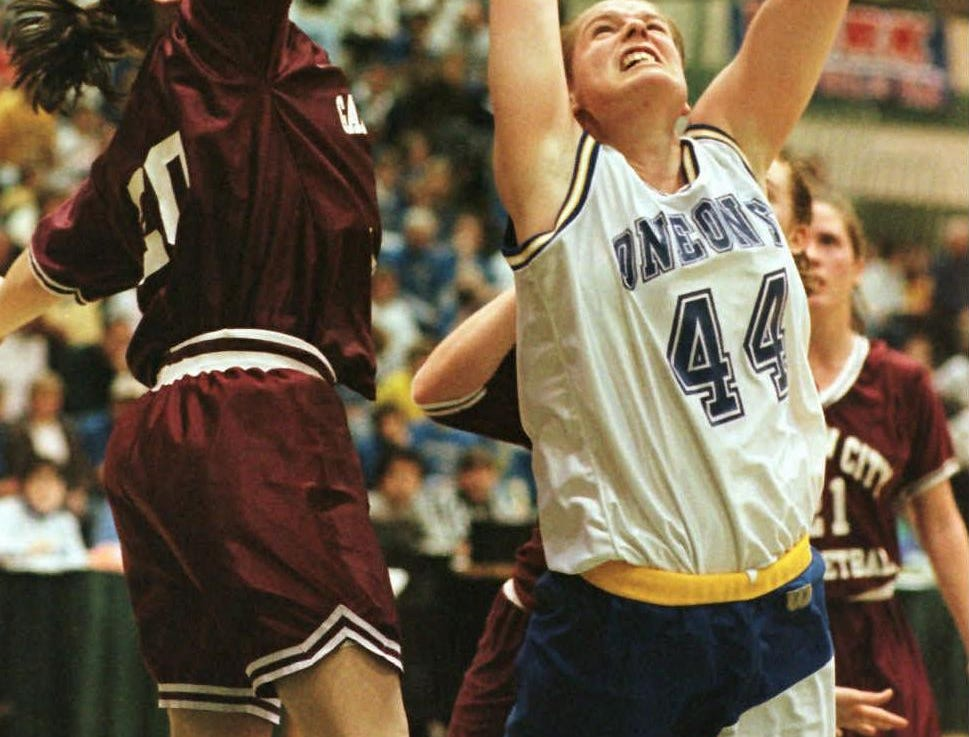 Oneonta's Stacy Knapp's shot is blocked in the third quarter of a state Class B semifinal game Saturday, March 21, 1998, in Troy, N.Y.