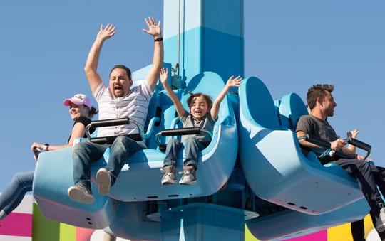 "Whee! ""Modern Family"" star Jeremy Maguire rides Unikitty's Disco Drop at the Lego Movie World Land at Legoland Florida, which officially opens March 27, 2019."