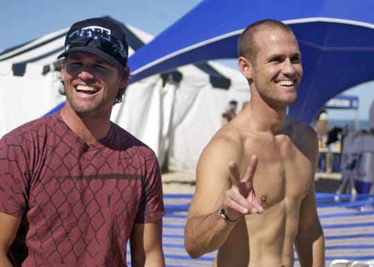 2008: In the sixth day of the Sebastian Inlet Pro Surfing, surfing brothers Damien (left) and C.J. Hobgood (right).