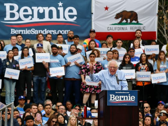 Democratic presidential candidate Sen. Bernie Sanders speaks at a rally at Grand Park in Los Angeles on Saturday, March 23, 2019. The Vermont senator made a notable, second-place finish in California's 2016 presidential primary when he won 27 of 58 counties.