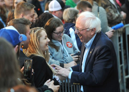 DES MOINES, IA - MARCH 09:  2020 Democratic presidential candidate U.S. Sen. Bernie Sanders (I-VT) greets potential supporters at a rally at the Iowa State Fairgrounds on March 9, 2019 in Des Moines, Iowa. Sanders who is so far the top Democratic candidate in the race is making the rounds in Iowa and New Hampshire.