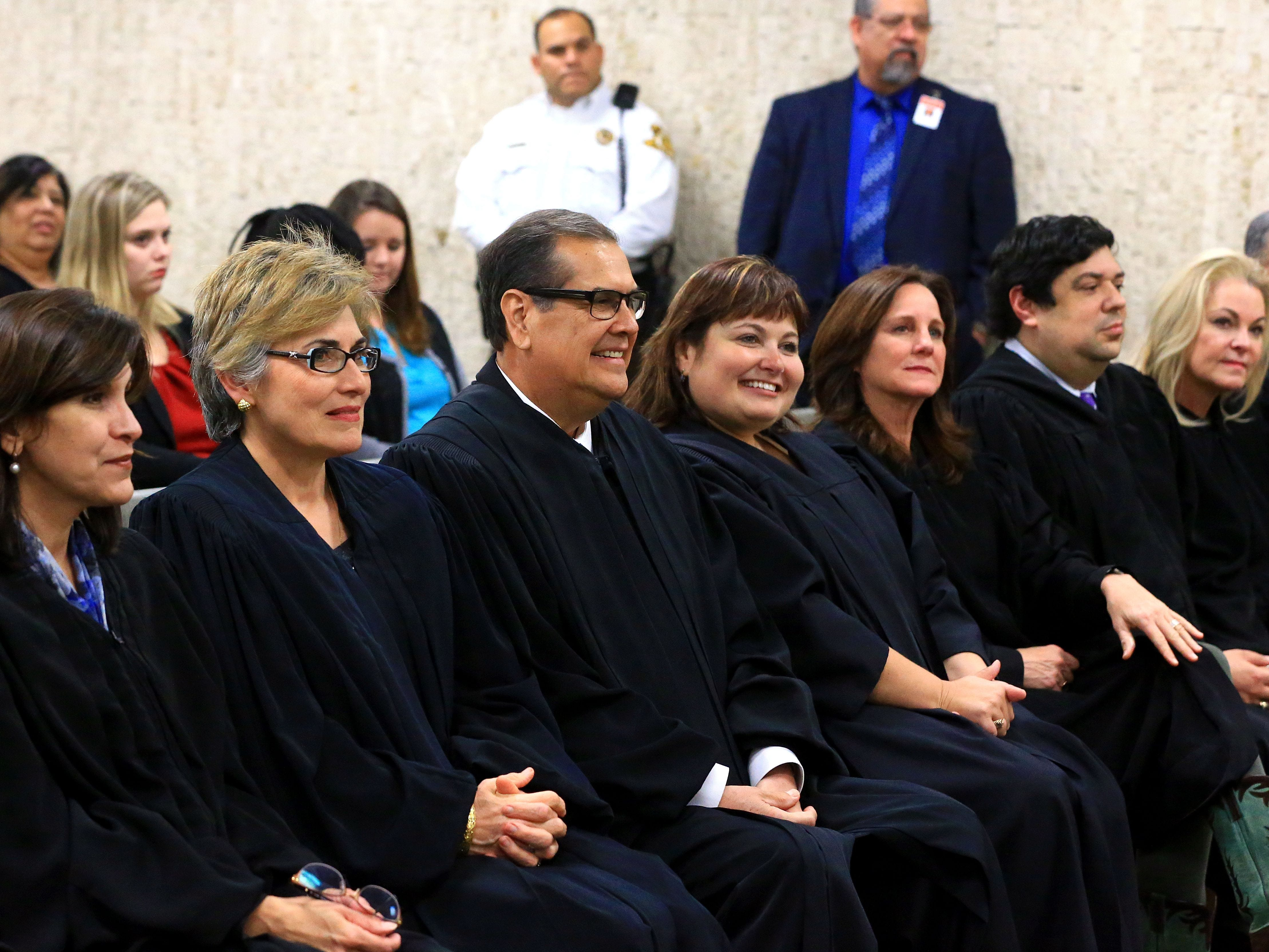 Nueces County judges watch as Nueces County District Attorney Mark Gonzalez talks before he is sworn in at the Nueces County Courthouse in 2017. There are more women judges than ever in Nueces County.