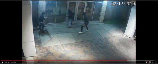 Screenshots of surveillance video released by the Corpus Christi Police Department show up to five people who appear to be vandalizing The Boys and Girls Club  of the Coastal Bend in the 3900 block of Greenwood Drive. Police  belive the crimes happened in November 2018, Jan, 18 and Feb. 17.