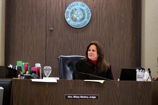 347th District Court Judge Missy Medary hears cases on March 20, 2019. She is the first woman to serve as Presiding Judge of the Fifth Administrative Judicial Region.