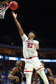 Mar 24, 2019; Tulsa, OK, USA; Texas Tech Red Raiders guard Jarrett Culver (23) shoots the ball against the Buffalo Bulls during the second half in the second round of the 2019 NCAA Tournament at BOK Center. Mandatory Credit: Mark J. Rebilas-USA TODAY Sports