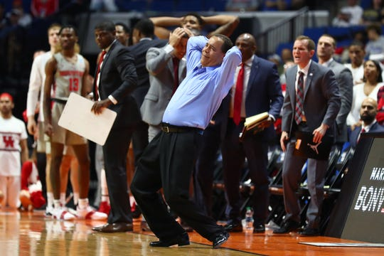 Mar 24, 2019; Tulsa, OK, USA; Houston Cougars head coach Kelvin Sampson reacts on the sidelines against the Ohio State Buckeyes during the second half in the second round of the 2019 NCAA Tournament at BOK Center. Mandatory Credit: Mark J. Rebilas-USA TODAY Sports