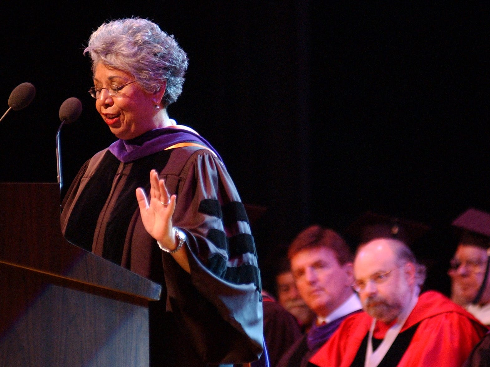 U.S. District Judge Hilda Tagle was the guest speaker for the Del Mar College Spring 2005 Commencement ceremonies. Tagle was the first woman to serve as a court-at-law judge in Nueces County. She was also the first Hispanic woman elected to a district judgeship in Nueces County.  Later, she was confirmed as a U.S. District Judge for the Southern District of Texas. She was the first Hispanic female judge from Texas appointed to a federal judgeship. She took senior status in 2012 but continues to work and issue rulings.