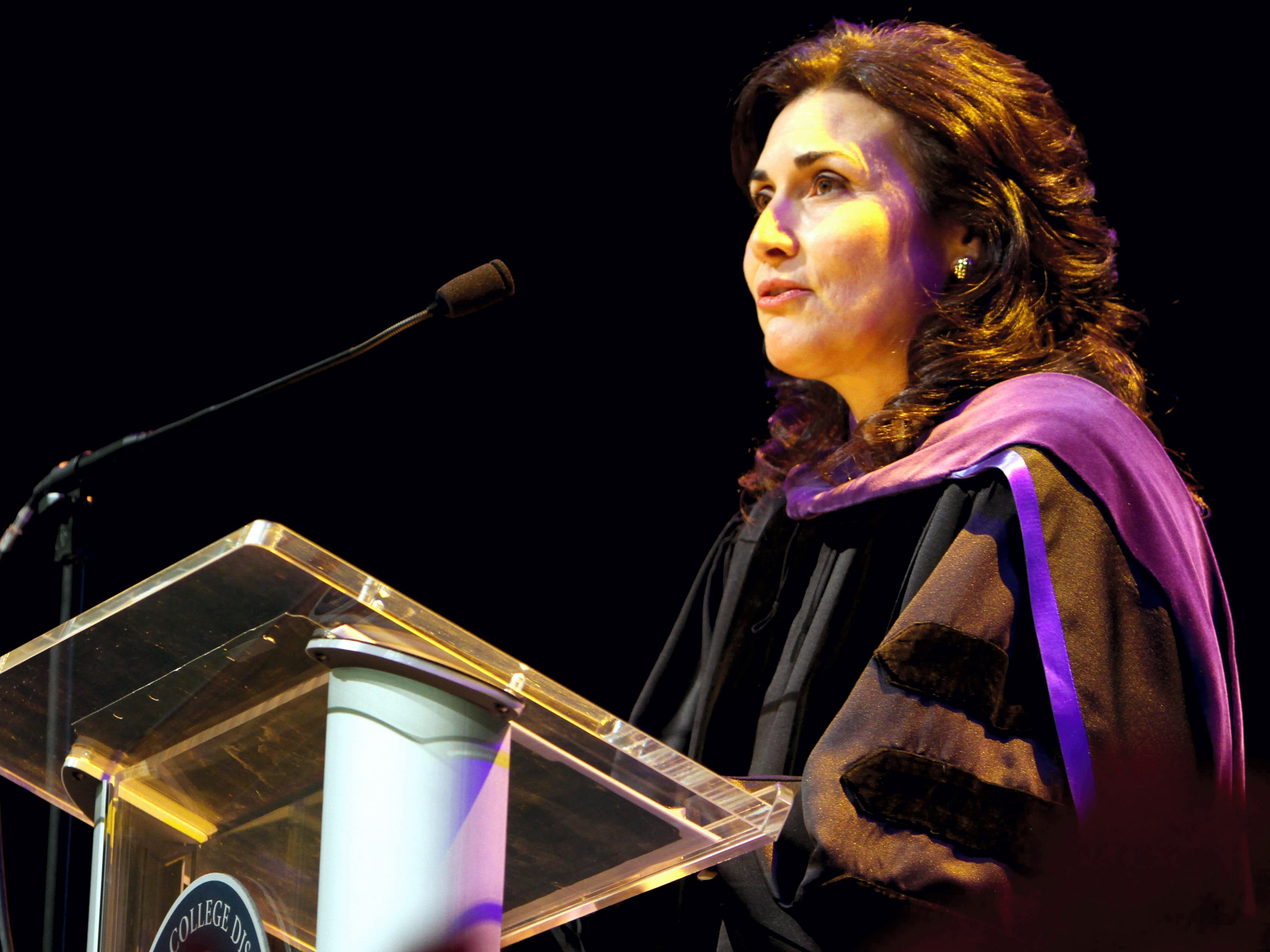 Nanette Hasette, 28th District Court Judge, speaks during a Del Mar College graduation in 2009. There are more women judges than ever in Nueces County.