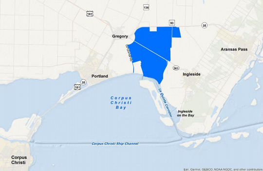 A rendering showing the proposed 5,700 acres of land in San Patricio County the City of Corpus Christi is proposing to annex into its city limits.