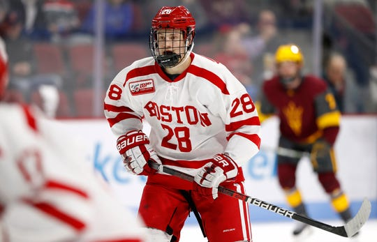Joel Farabee led the Boston University Terriers in points in his freshman season with 36 in 37 games.