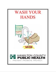 A Hamilton County Public Health poster that's provided to area restaurants, reminding of good hygiene.