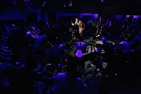 A Peloton spin class. The company is facing a $150 million copyright lawsuit over the music it uses.