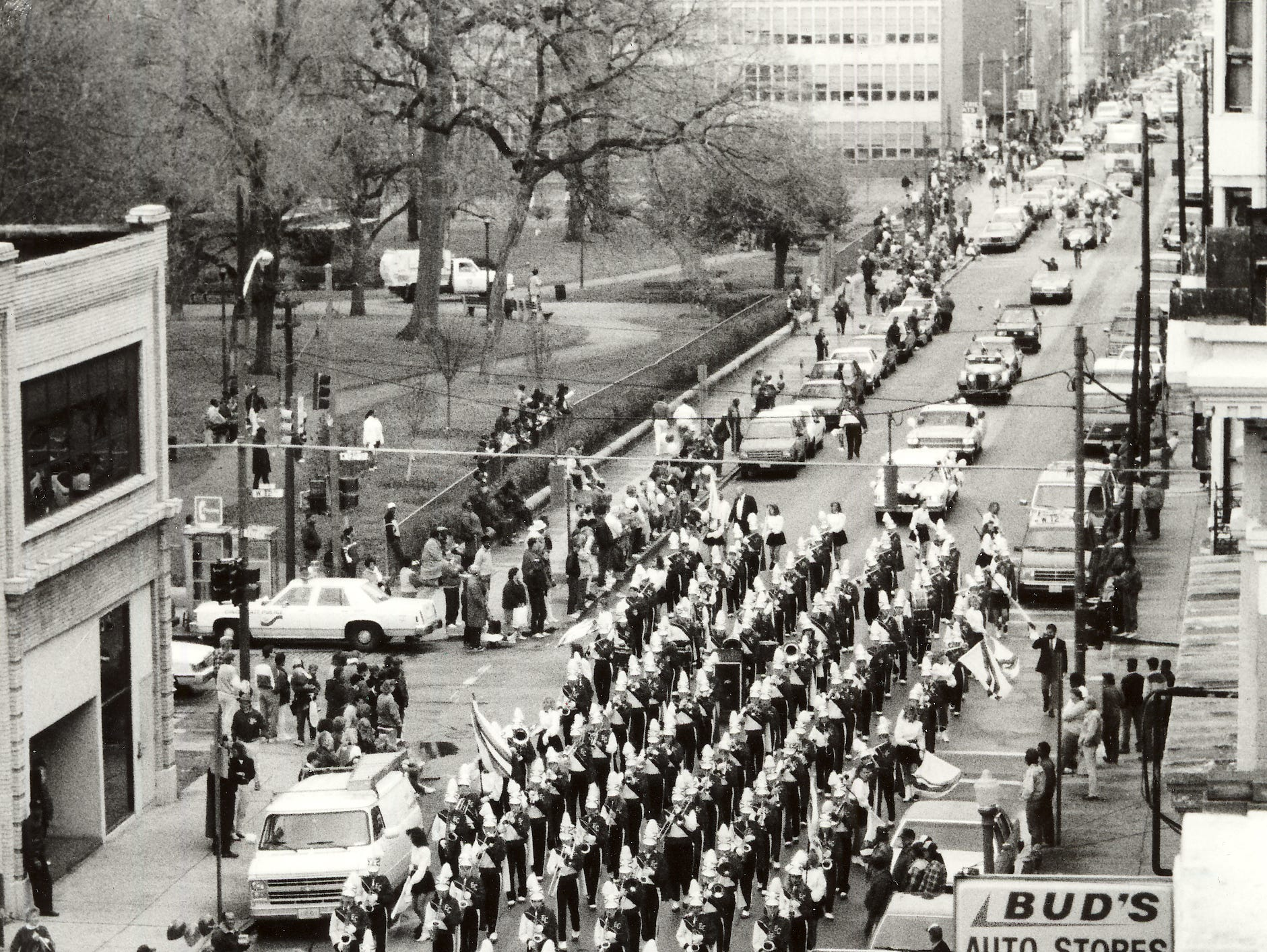 The lone marching band - from East Central - led the 1990 Findlay Market Parade on April 17, 1990. The parade was originally cancelled because of a labor dispute in baseball, which wasn't resolved until March 19.