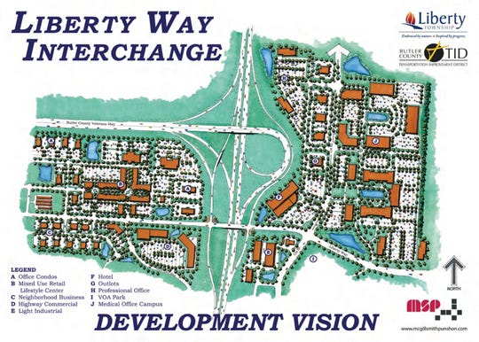 This map from 2009 showed projected = long-term development plans for more than 600 acres of land that ==opened for new construction with the Oct. 1 debut of the Liberty Interchange off I-75 in Liberty Township.