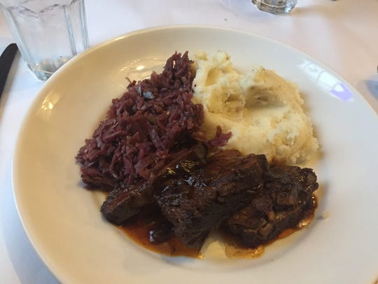 Sauerbraten, with red cabbage and whipped potatoes, from The Sherman in Batesville, Indiana