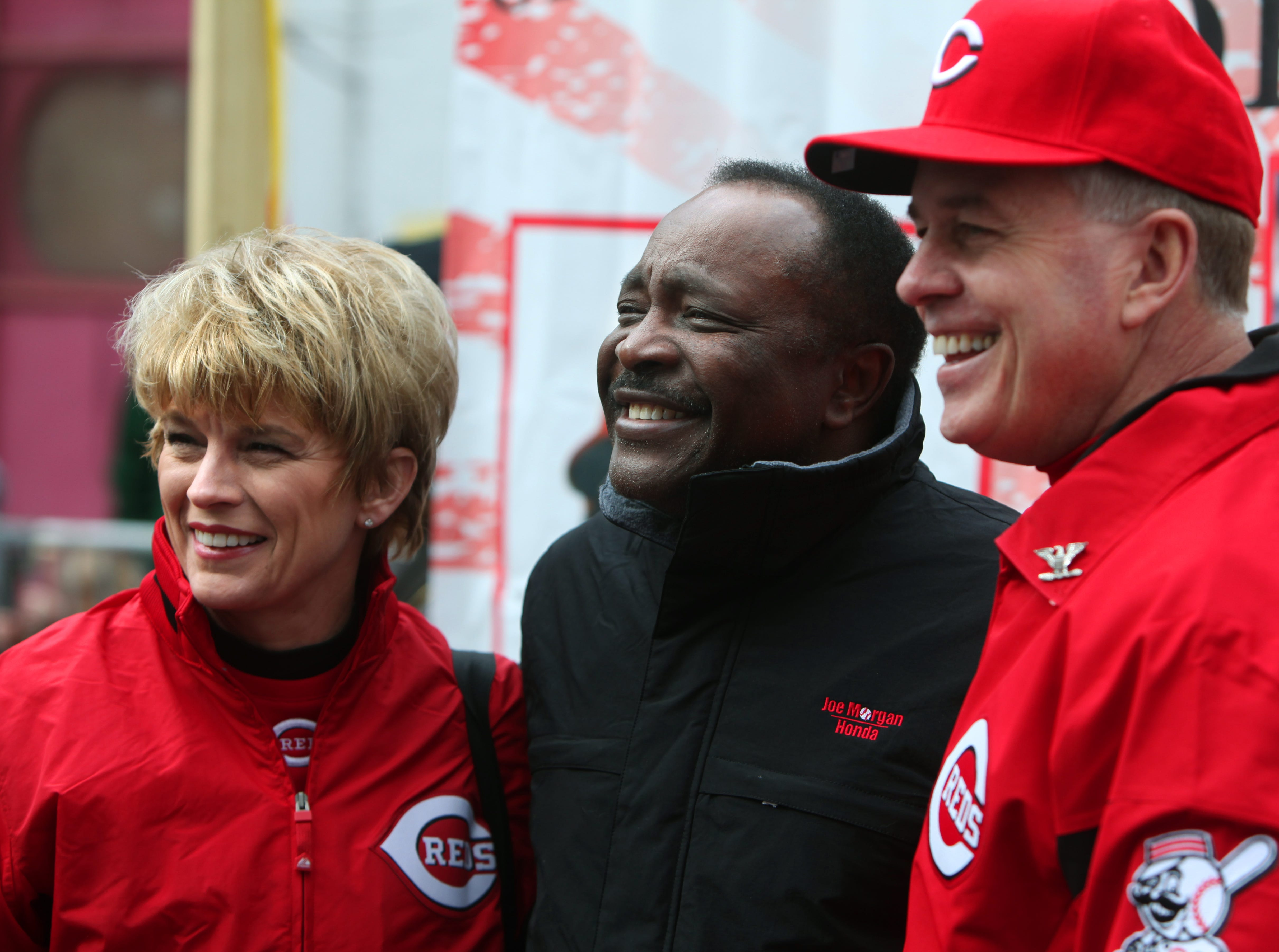 March 31, 2011: Cincinnati Reds Hall of Famer Joe Morgan, center, is photographed with Cathy Streicher, left, and her husband, the former Police Chief Tom Streicher. Morgan is the grand marshal of the 92nd Findlay Market Parade and Tom Streicher threw the ceremonial first pitch.