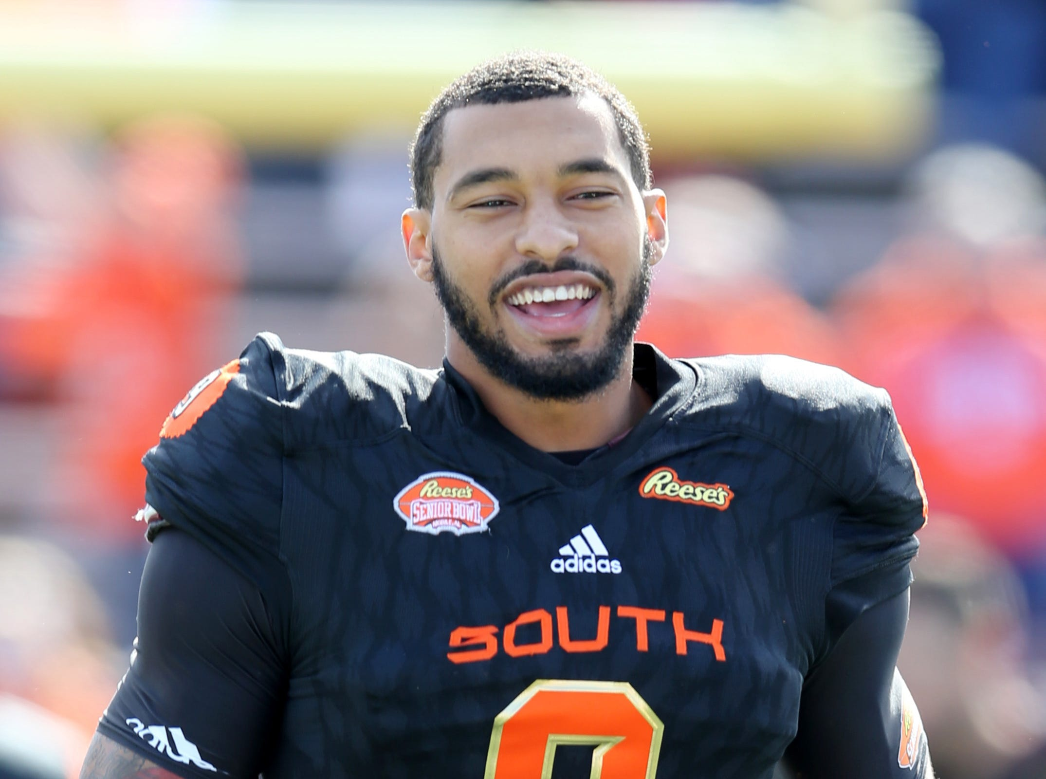 South defensive end Montez Sweat of Mississippi State (9) before the Senior Bowl at Ladd-Peebles Stadium.