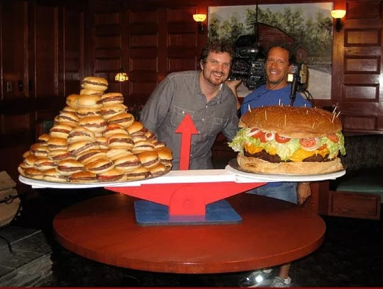 The 105-pound 8th Wonder offers a $2,000 prize if a team of 10 can eat it in one hour at Clinton Station Diner in Clinton Township.