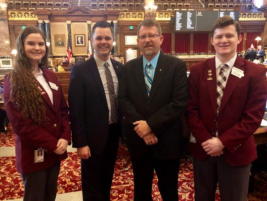 State Sen. Zach Nunn, R-Bondurant, welcomed pastor Glen Hanson from Cross Point Family Church in Bondurant to the Iowa Senate, where he opened the Senate with a prayer. Senate page Ami Penquite of Altoona led the Pledge of Allegiance with support from Jackson Birdwell of Altoona.