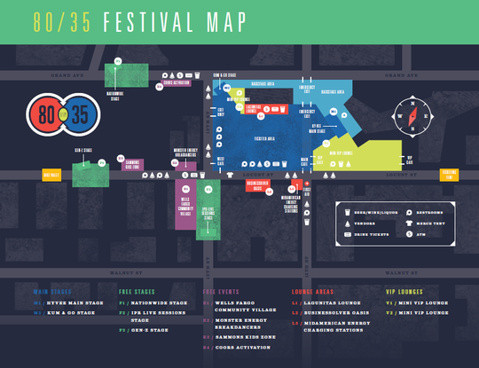 A map of the 80/35 Music Festival grounds outlines changes to the 2019 event.