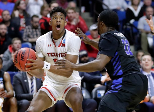 Texas Tech's Jarrett Culver looks to shoot against Buffalo in the second round in the NCAA tournament Sunday, March 24, 2019, in Tulsa, Okla.