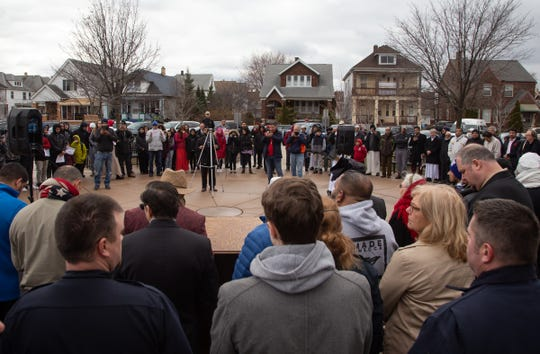 Community members gather to listen to speakers during a rally in front of Hamtramck City Hall at Zussman Park in remembrance of the fallen in New Zealand terror attack and to stand against Islamophobia.