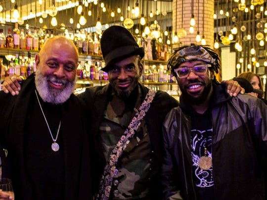 From left,  jewelry designer Virgil Taylor, musician Amp Fiddler and music producer Nick Speed.