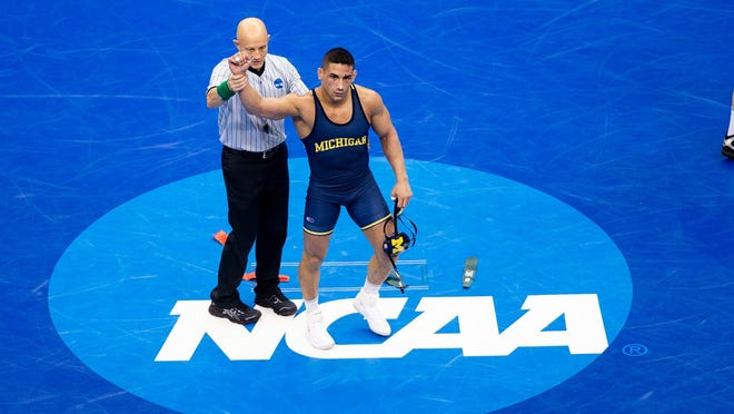 Alec Pantaleo earned All-American honors at 157 pounds for Michigan.