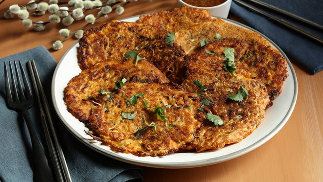 Veggie Noodle and Kimchi Pancakes make a great brunch dish, or serve them as a nibble with beer or iced soju.
