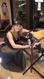 Bag designer Sue Fuller hosts event at Foundation Hotel with her dog, Oliver Thomas.