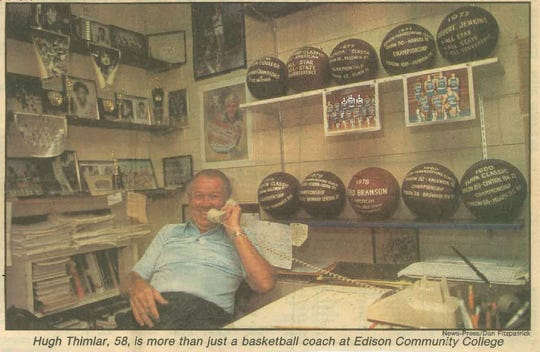 From The News-Press archives: Hugh Thimlar in his Edison Community College office in 1984.