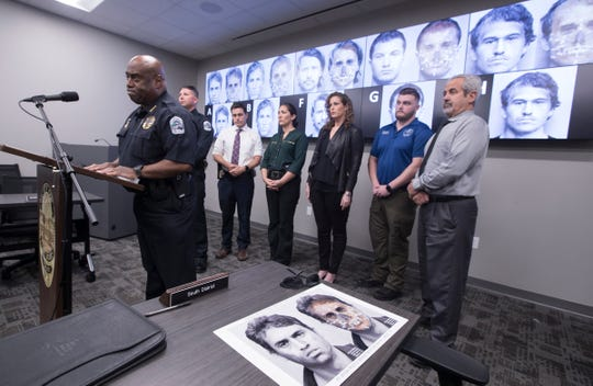 FMPD Chief Derrick Diggs, speaks during a press conference Monday morning. In collaboration with Miami-Dade PD, new digital facial re-constructions were generated to develop the portraits of 5 men who are still unidentified after being discovered in March of 2007 buried in a Fort Myers field.