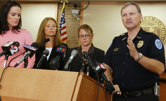 In 2007 then Fort Myers police chief Hilton Daniels makes a point during a press conference regarding the discovery of human remains in East Fort Myers earlier this spring at City Hall council chambers. Hilton is joined (left to right) by forensic anthropologist Dr. Heather Walsh-Haney, forensic odontologist (dental expert) Dr. Margery Friday, and Detective Jennifer Soto, who is leading the investigation. The public is being asked to help in identifying the remains.
