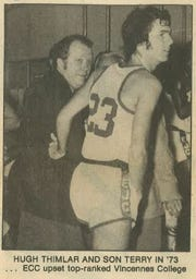 Hugh Thimlar coached his son Terry in college.
