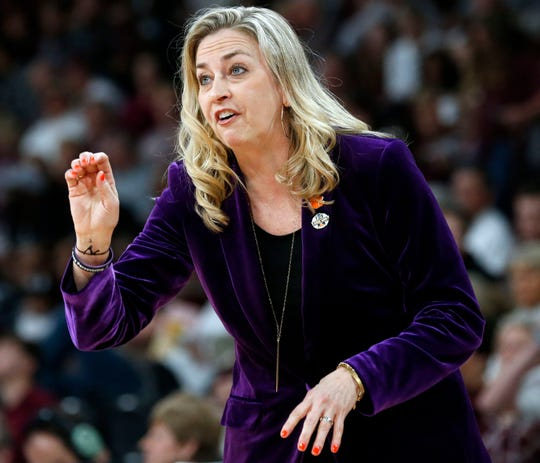 Clemson head coach Amanda Butler gestures to her team during the second half of a second-round women's college basketball game against Mississippi State.