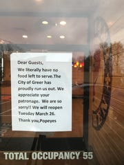 Popeyes in Greer shut down early Monday after running out of food.