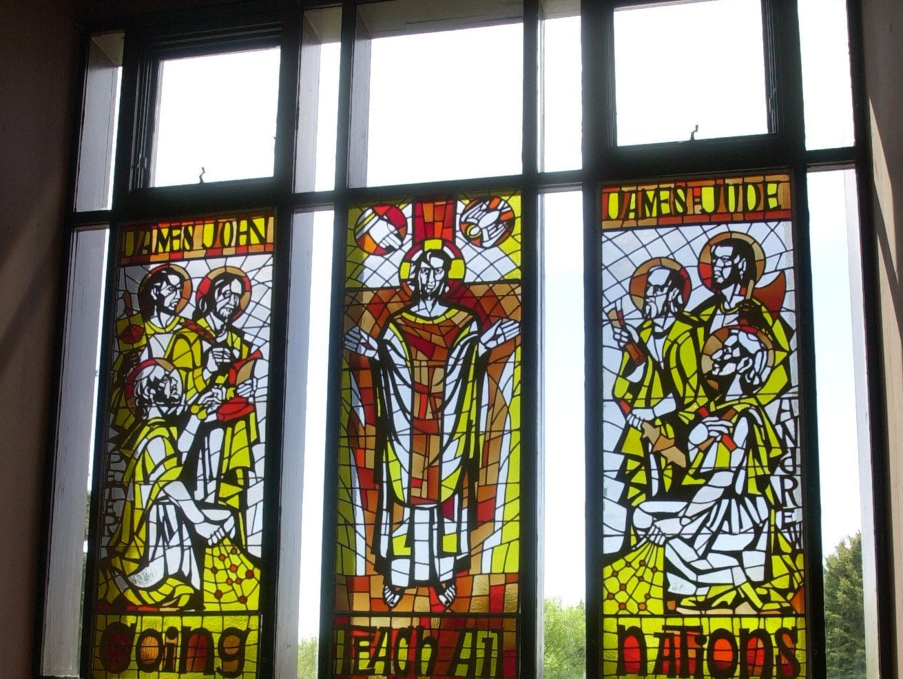 Stained glass windows in Trinitas Chapel at University of Providence were created by Sister Mary Trinitas Morin.
