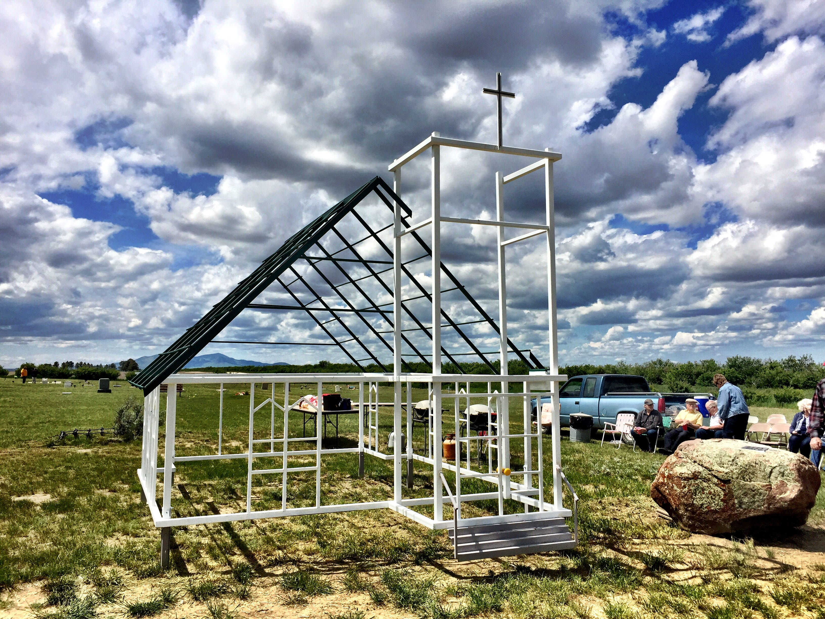 The Grace Evangelical Church is gone, but locals erected a scale model of the church north of Rudyard near the homestead community of Goldstone.