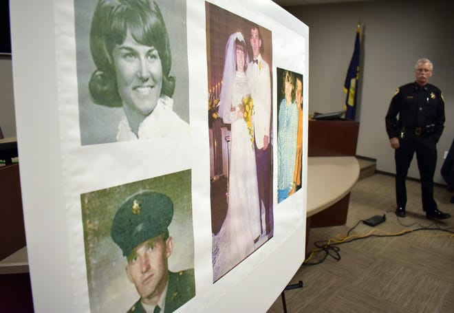 Photos of Linda and Clifford Bernhardt, who were killed in 1973, are displayed at a press conference at the Yellowstone County administrative offices in Billings, Mont., on March 25, 2019.