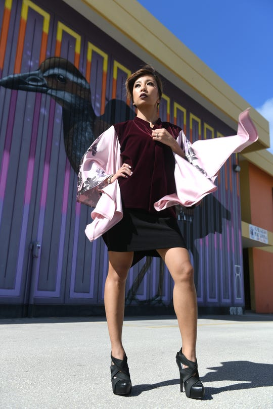 Gacha founder Leslie Sanga models her Orchid Velvet Cover-Up Top.
