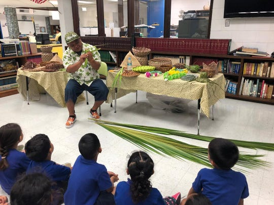 M.U. Lujan Elementary school students participated in the weaving demonstration by Tom Torres on March 14.