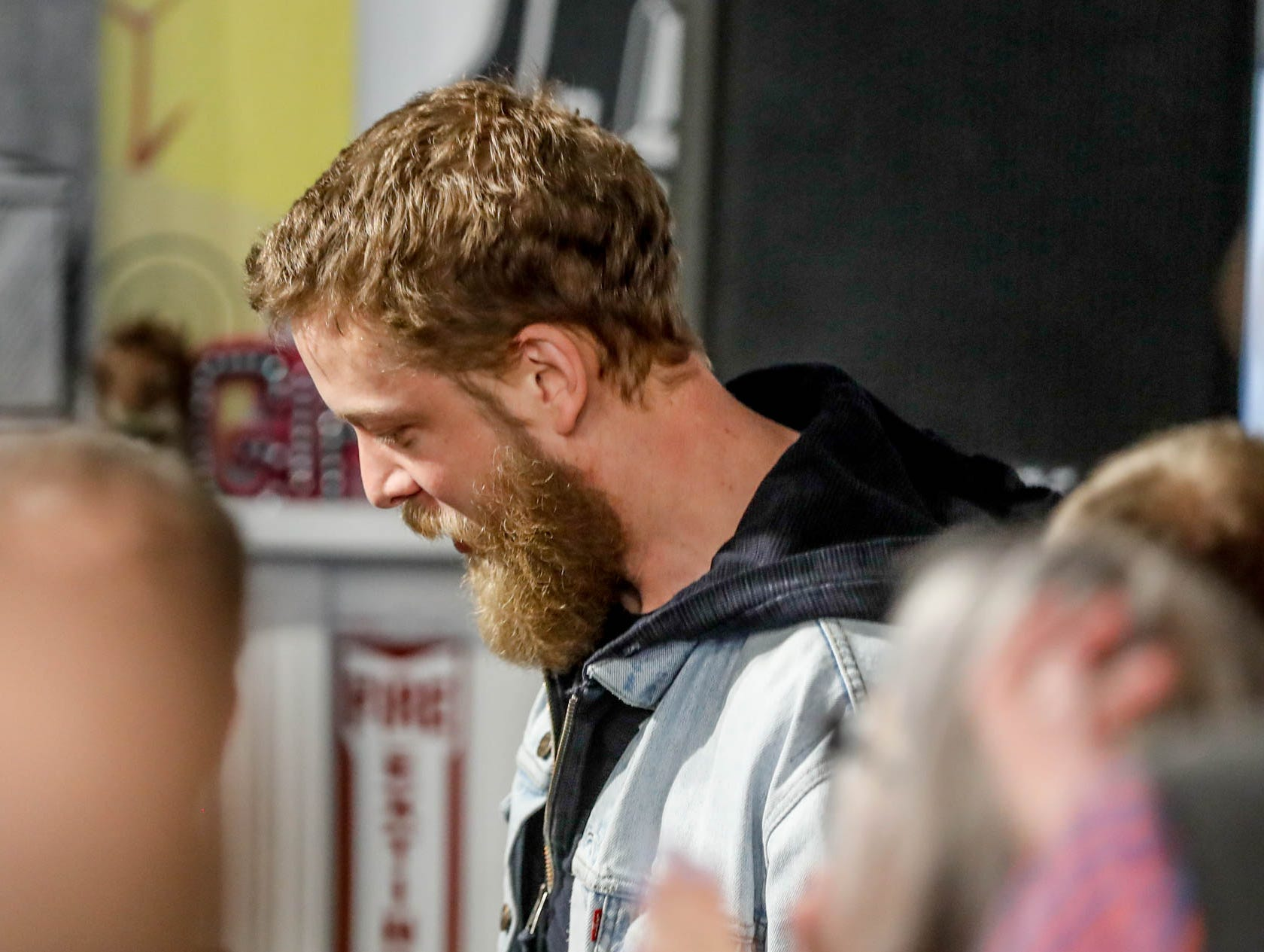 Mumford & Sons band member Ted Dwane arrives to make a special in-store appearance at Indy CD & Vinyl on Monday, March 25, 2019.